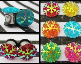 "Glowing Snowflake christmas winter EAR TUNNEL PLUG Earrings gauge size and color 6g, 4g, 2g, 0g, 00g, 1/2"" - 4mm, 5mm, 6mm, 8mm, 10mm, 12mm"