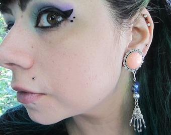 """Elegant Misfit Skeleton Hand dangle EAR PLUGS earrings you pick gauge 7/16, 1/2"""", 9/16"""", 5/8"""", 11/16"""", 7/8"""", 1"""" aka 12, 14, 16, 18, 22, 25mm"""