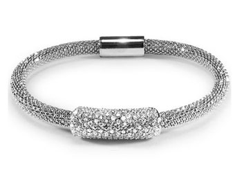 925 Sterling Silver Rhodium Magnetic Cz Bead Bracelet