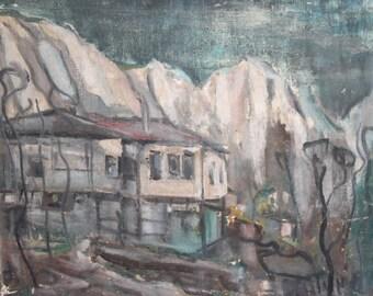 Vintage oil painting landscape house signed