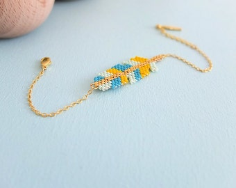 Feather bracelet, Miyuki glass beads, 24k gold plated findings