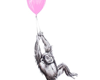 Baby Monkey Downloadable Print Pink