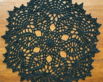 "Small crochet doily, black, Halloween, 9 1/2"""