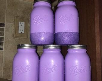 Mason jars painted, wedding centerpiece,spring home decor jars,
