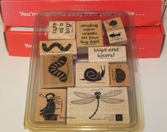 Stampin' Up! Retired set Bugs and Kisses wood mounted