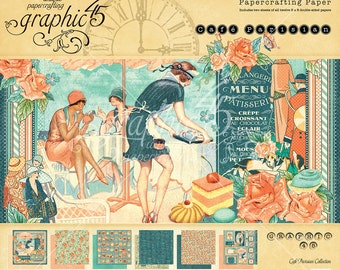Graphic 45 Cafe Parisian 8x8 Paper Pad, SC007665