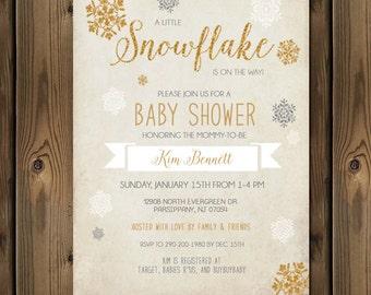 Winter Gender Neutral Baby Shower Invitation, Snowflake on the Way,  Winter Shower Invite, Printable_124C