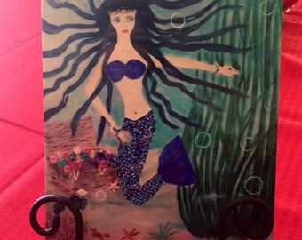 Metal Print of A Mermaid and her Treasure