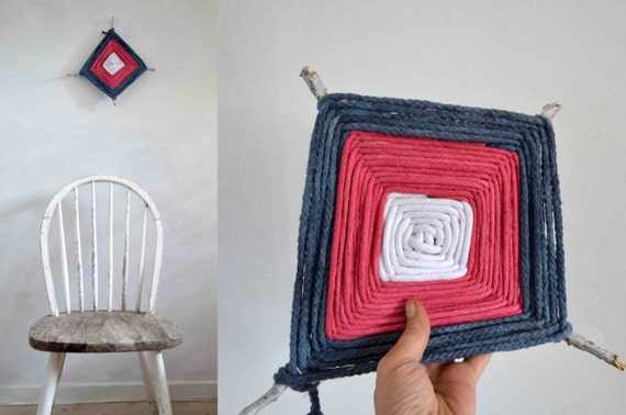 Small Nautical Wall Decor : Ojo de dios wall hangings rope textile art nautical small