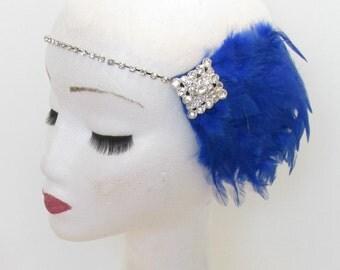 Sapphire Blue Silver Feather Dress Headpiece Flapper Vintage 1920s Headband 1930s Great Gatsby Rhinestone Diamante Elasticated M88