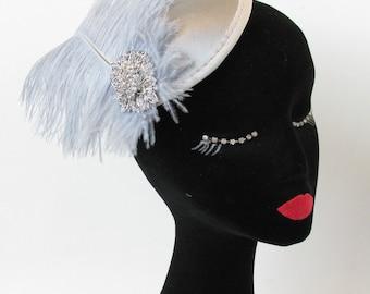 Silver Grey Ostrich Feather Fascinator Headpiece Hair Clip Races Vintage 1920s Hat Headdress Dove Dress Q69