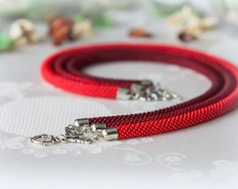 """Bead Crochet Necklace """"Red"""""""