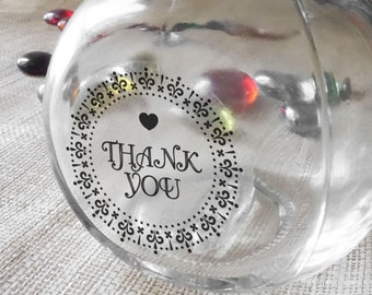 "60 pcs Transparent ""Thank You"" stickers/ party favor/  packaging supply/ Shipping Labels Scrapbook Stickers Seals #1"