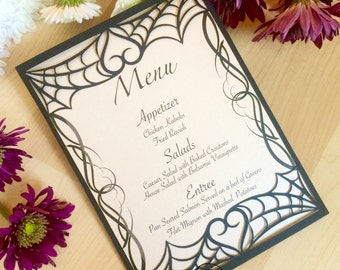 spider web laser cut menu card pocket gothic heart halloween wedding stationary
