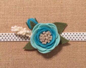 Felt Flower Headband - Turquoise
