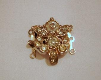 Vintage Rhinestone 3 Hole Necklace Clasp, 3 Hole Bracelet Clasp
