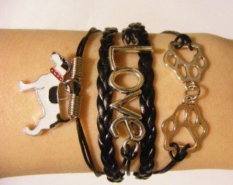 Pitbull bracelet, pitbull jewelry, dog bracelet, dog jewelry, leather dog bracelet, leather dog jewelry, terrier mix bracelet