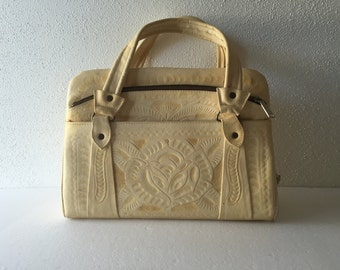 Vintage 50's Hand Tooled Ivory Mexican Made Flores' Handbag