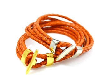 Braided Leather Bracelet In Orange, Genuine Leather, Silver Or Gold Clasps