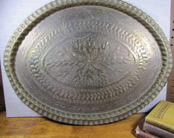 Antiqued Brass Large Oval Tray - Etched Flower and Leaf Design