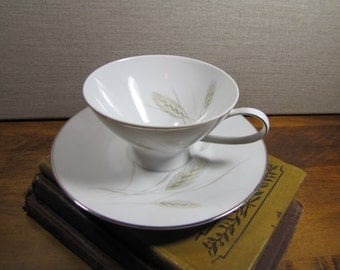 Vintage Rosenthal Teacup and Saucer Set - Gray Wheat and Leaves - Gold Accent