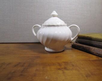 Large Swirled Rib Pattern Covered Sugar Dish - Creamy White - Two Handled