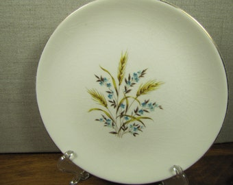 Vintage Dessert Plate - Brown Wheat - Blue Flowers - Gold Accent