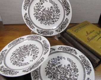 Vintage Brown Floral Bread and Butter Plates - Three (3)