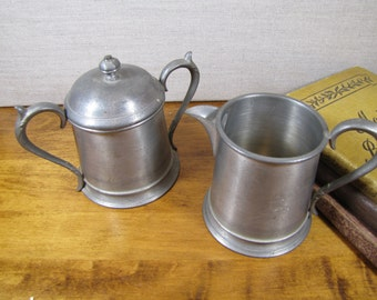 Eales English Pewter - Sugar Dish and Creamer Set - Made in England