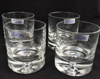 Toscany Scotch - Whiskey Hand Blown Tumbler Glasses with Tags - Very Heavy - Made in Poland