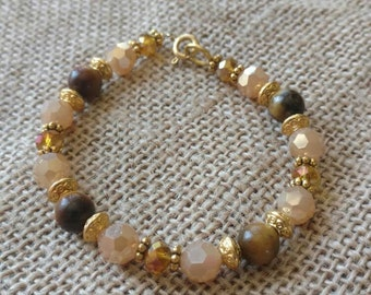 Tiger eye and  crystal bracelet