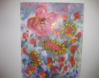 105 Red Blooms original oil painting art