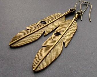 Long Antiqued Brass earrings. bronze Earrings. big earrings. leaf feathers earrings. earrings Antiqued Brass leaf feathers. Earrings Dangle.