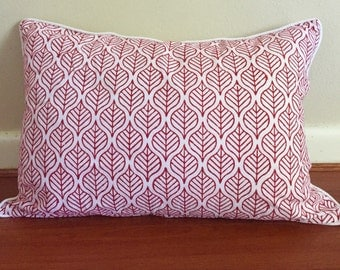 Red leaves block painted cushion cover