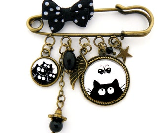 PIN pin medallions black cats and Butterfly