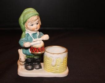 Vintage Jasco Christmas Luvkins Hand Painted Porcelain Little Drummer Boy Candle Holder Figurine Dated 1978 (V048)
