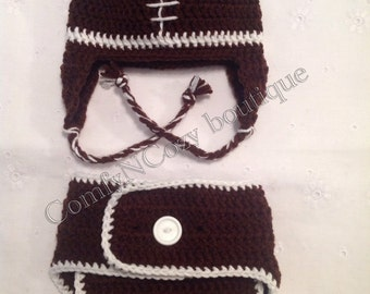 Crocheted Football baby diaper cover set