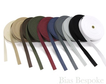 100% Cotton Single Fold Bias Tape in 10 Colors, 27 Yard Roll, Made in Italy