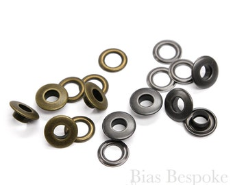 Set of 144 14mm Flat-Top Grommets, Antique Brass and Silver