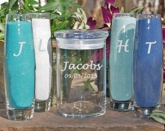 Custom Beach Wedding / Unity Sand Set / Personalized Wedding Sand Ceremony / Includes Custom Engraved Glasses / 48 Font Designs