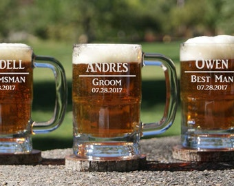 10 Personalized Beer Mugs - 12oz / Groomsmen Gifts / Bachelor Party / Custom Beer Mug / Etched Glass / Set of 10 Glasses / 16 DESIGNS