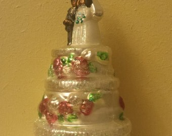 Blown Glass 3 Tier Wedding Cake Christmas Tree Ornament- made in Poland