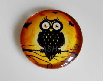 5 Black Owl Round Glass Cabochons 20mm (048)