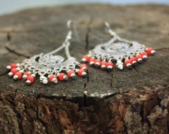 Glass Bead and Metal Earring