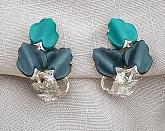 Vintage Green and Gold Leaf Clip On Earrings