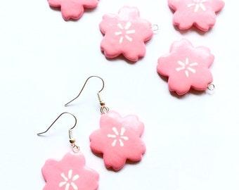 Pink sakura earrings Pink cherry blossom earrings Sakura jewelry Kawaii pink yukata earrings Cute Japan style anime Oriental flower earrings