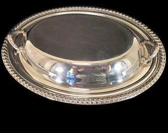 Silver-plated Covered Casserole Dish -- Silverplate Serving Dish -- Wm Rogers Silver -- Covered Dish -- Silver Vegetable Dish -- GW0550
