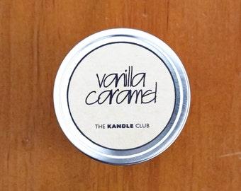 Vanilla Caramel: Travel Tin 4oz (Natural Soy Wax Candle Cotton Wick)
