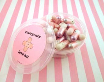 Emergency Love Pill Kit Metallic Light Pink Wish Pill Capsule with a Message Inside, Write Your Own Message, E70