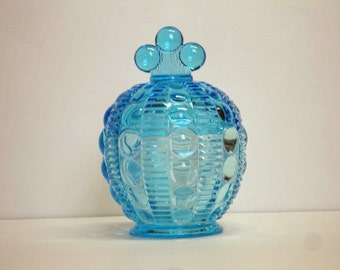 Vintage Blue Glass Covered Candy Dish Compote